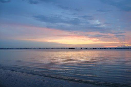 Sea, Italy, Sunrise, Low Tide, Blue, Sun, Morning