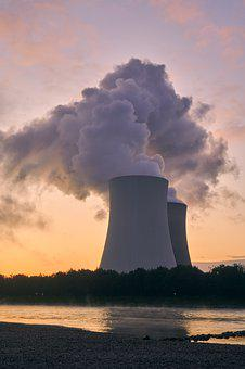 Nuclear Power Plant, Cooling Tower, Sunrise, Blue Hour