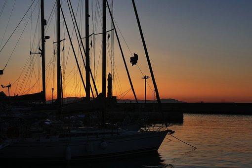 Yacht, Sunset, Twilight, Evening, Night, Sea, The Sun