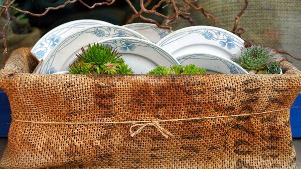 Basket, Plate, Decoration, Garden