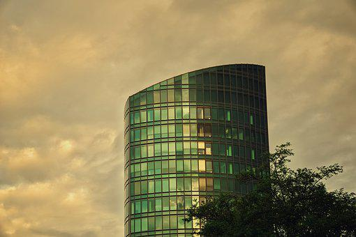 Tower, Building, Windows, Glass, Sky, Clouds, Colors