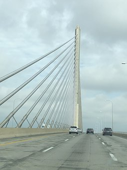 Driving Over A Bridge, Cloudy Sky, Highway Over Bridge