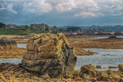 Landscape, Brittany, Sea, Rocks, Edge-of-sea