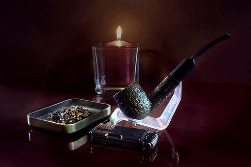 Still Life, Pipe, Tobacco, Lighter, Candle, Glass, Fire