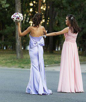 Women, Young, The Ladies, Honor, Bouquets, Flowers