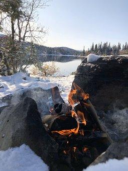 Fire, Snow, Winter, Autumn, Wood, Lake, Blue Sky