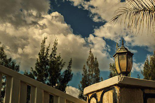 Lamp, Wall, Sky, Clouds, Gate, Trees, Plants, Design