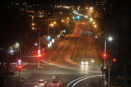 Auckland, By, Night, City, Street, Quiet, Lights