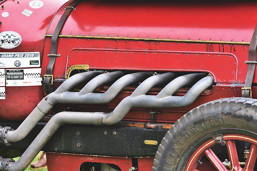 Locomobile M48, Exhaust, Manifold, Racing Car, Oldtimer