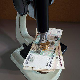 Microscope, Lens, Banknotes, Coins, Money, Ruble