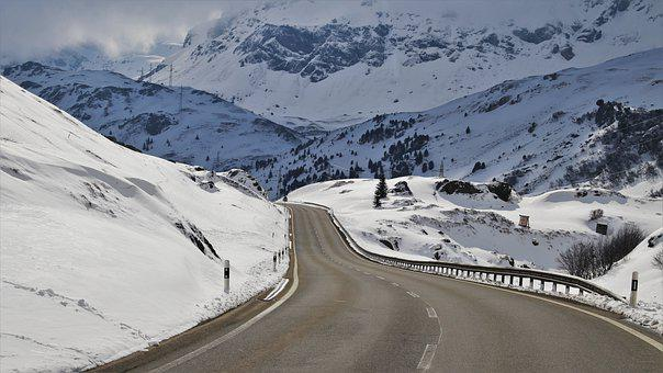 Winter, The Prospect Of, Road, Mountain, Overlap