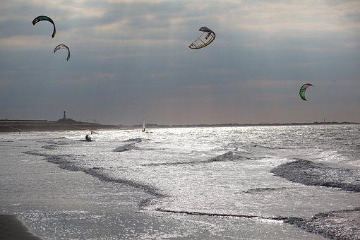 Kyten, Sea, Kytesurfen, Wave, Coast, Surf, North Sea