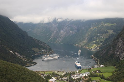 Geiranger, Fjord, Norwaym Cruise, Sky, Blue, Water, Sea