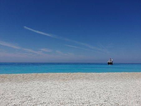 Boat, Blue, Clear, Water, See, Beach, Sand, Sea