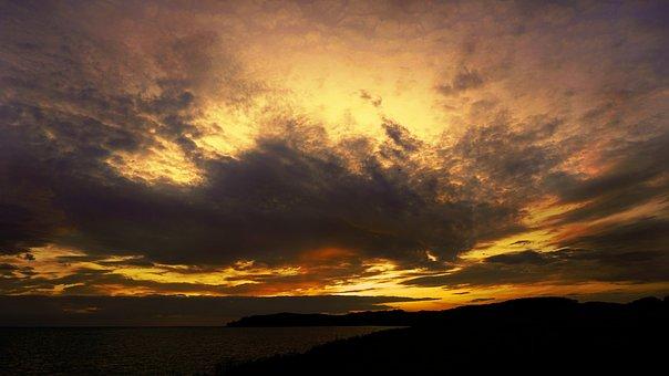 Sunset, Sky, Clouds, Sunrise, Sea, Evening, Landscape