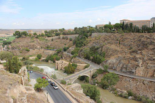 Toledo, Spain, Landscape, City, Nature, River, Bridge