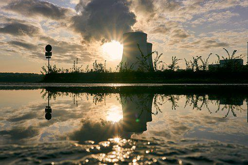 Nuclear Power Plant, Cooling Tower, Sunrise, Puddle