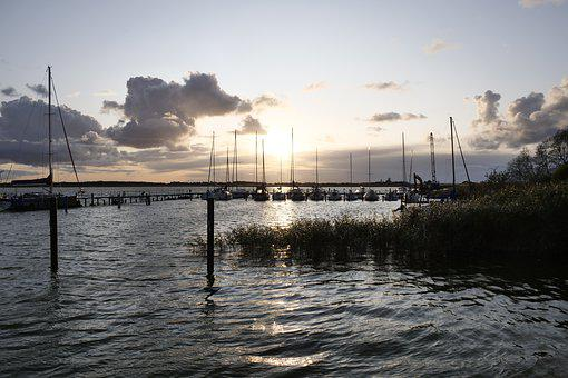 Port, Autumn, Sunset, Clouds, Water, Sky, Rest