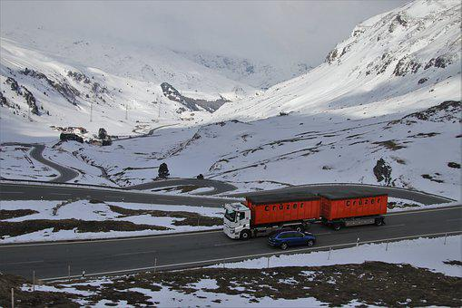 Trail, Mountain, Snow, The Alps, Transport, Truck, Road