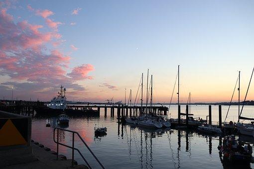Port, Sunset, Sailing Boat, Landscape, Water, Ocean