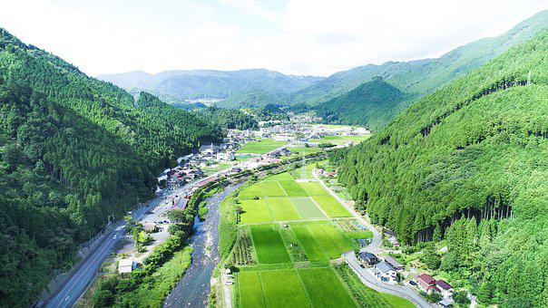 Japan Landscape, Aerial View, Countryside, Reflection