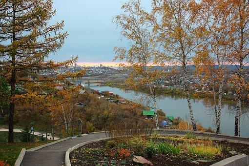 Landscape, City, Autumn, Birch, At Home, Roof, River