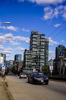 Vancouver, Auto, Road, Sky, Building, Skyscraper