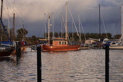 Autumn, Port, Sailing Boats, Sky, Landscape, Mood