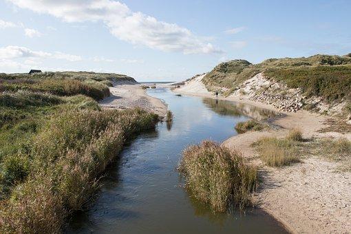 å, Water, Sand, Dunes, Sky, Beach, Clouds, Henne