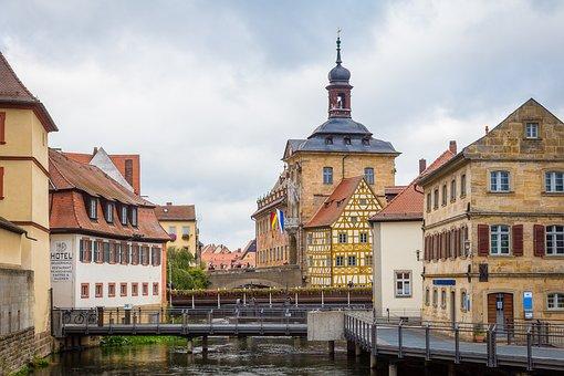 Bamberg, Town Hall, Old Town Hall, Bridge, Regnitz
