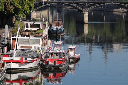 Barges, Boats, River, The Seine, Paris, France, Browse
