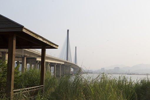 Bridge, City, China, Island, Water, Scenic