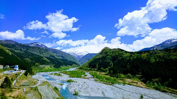 Mountain, Mt, Forest, Blue Sky, Nature, River, Cloud