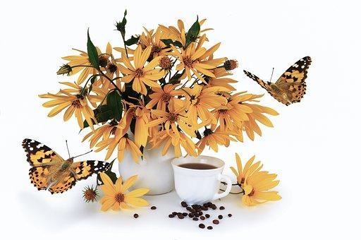 Bouquet, Flower, Yellow, Jerusalem Artichoke, Coffee