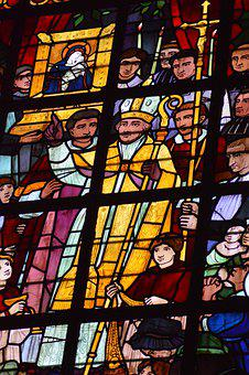 Stained Glass, Window, Church, Bishop, Crowd, Icon