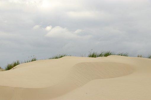 Sand, Beach, Coast, Dune, Grass, Clouds, Sky, Dark