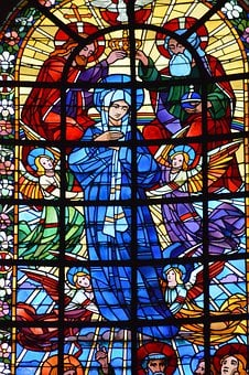 Stained Glass, Window, Church, Trinity, Father, Son