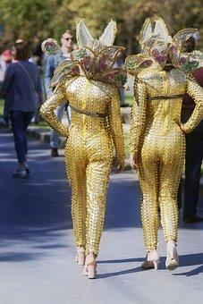 People, Women, Costumes, Fancy, Gold, Going, Street