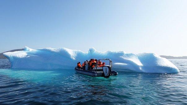 Iceberg, Ice, Greenland, Tourism, Rib, Boat,, Dinghy