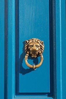 Doorknob, Lion, Door, Blue, Gold, Brass, Entrance, Head