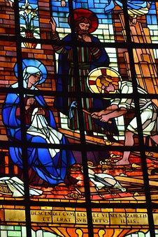 Stained Glass, Window, Church, Jesus, Mary, Joseph