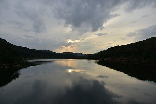 Lake, Dawn, Moun, Water, Sky, Reflections, Nature