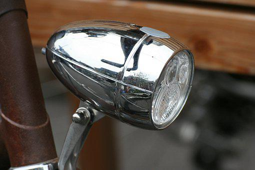 Velo, Bike, Lamp, Chrome, Light, Shiny, Design, Classic