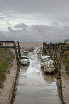 Estuary, Gironde, France, Boat, Tide, Low, Water, Side