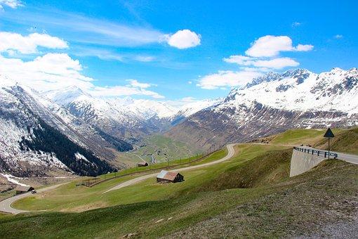 Mountain, Alps, Landscape, Clouds, Road