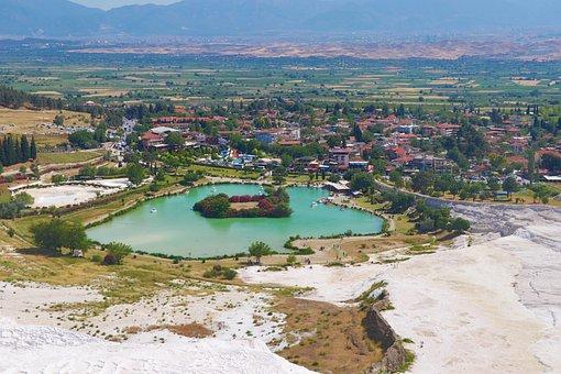 Pamukkale, Lake, M, Turkey, Water, Peace, Holiday, Lime