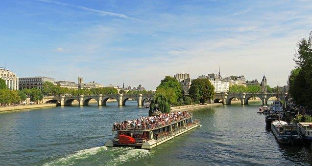 Paris, Panorama, Seine, Boats, Flies, Sky, Europe