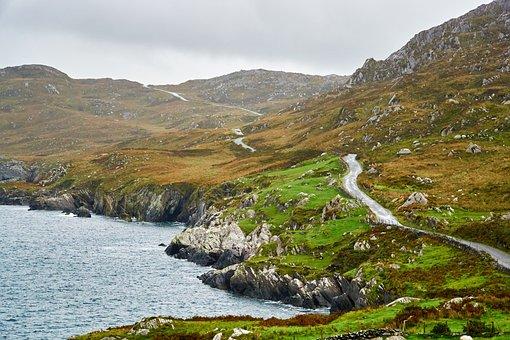 Ireland, Coast, Road, Sea, Landscape, Nature, Distance