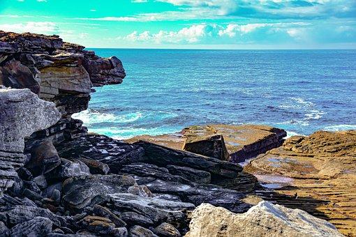 Rocky Beach, Seashore, Ocean, Landscape, Scenery