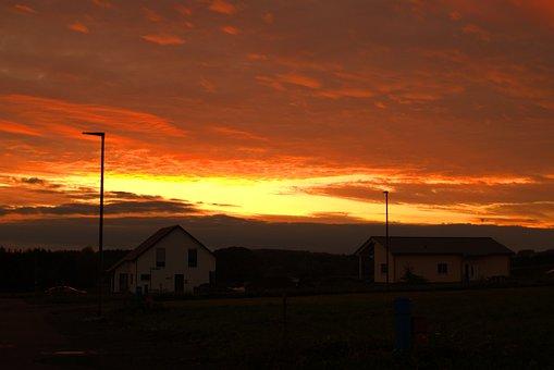 Sunset, House, Color, Romantic, Building, Sky, Window